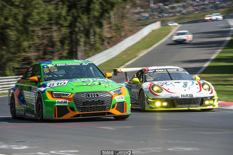 Ausgefallen: Der Audi RS3 LMS von Bonk Motorsport sah nicht das Ziel - VLN2 2017 (Foto: mariushecker.de)