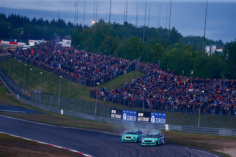 Die Driftshow vor dem Rennen gehört mittlerweile auch zum umfangreichen Rahmenprogramm (Foto: ADAC Zurich 24h-Rennen)