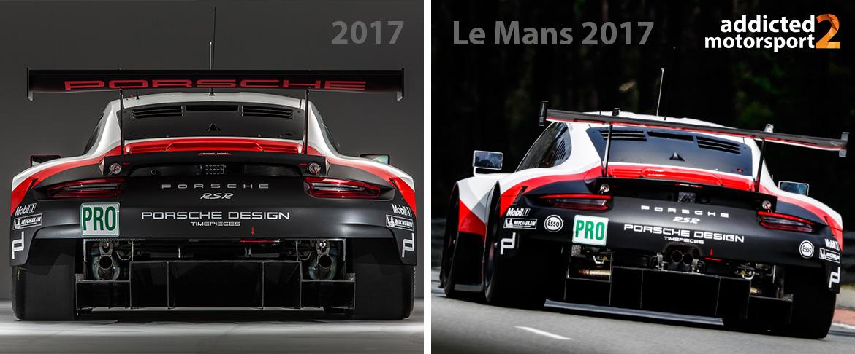 Abgasanlagen-Layout im März 2017 (links) und beim Le Mans-Test 2017 (rechts) (Fotos: Porsche)