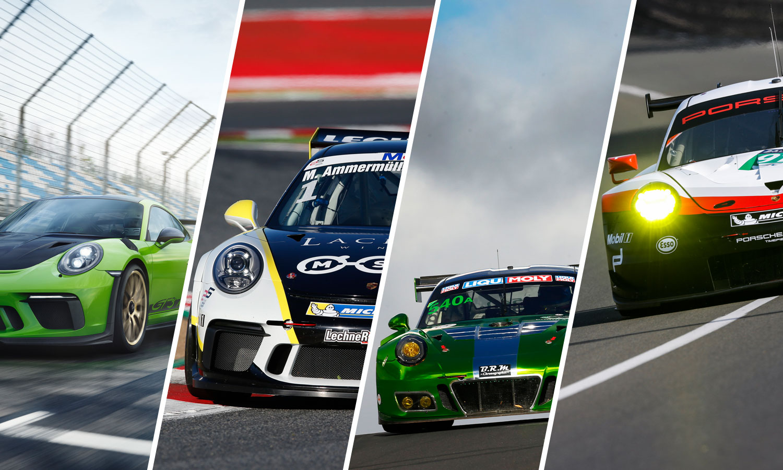 Porsche 911 GT3 RS, GT3 Cup, GT3 R & 911 RSR (v.l.n.r.)