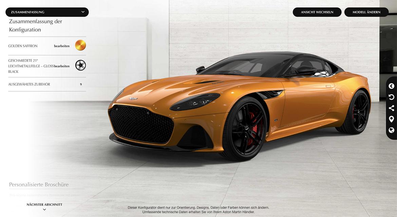 Aston Martin DBS Superleggera im Online-Konfigurator