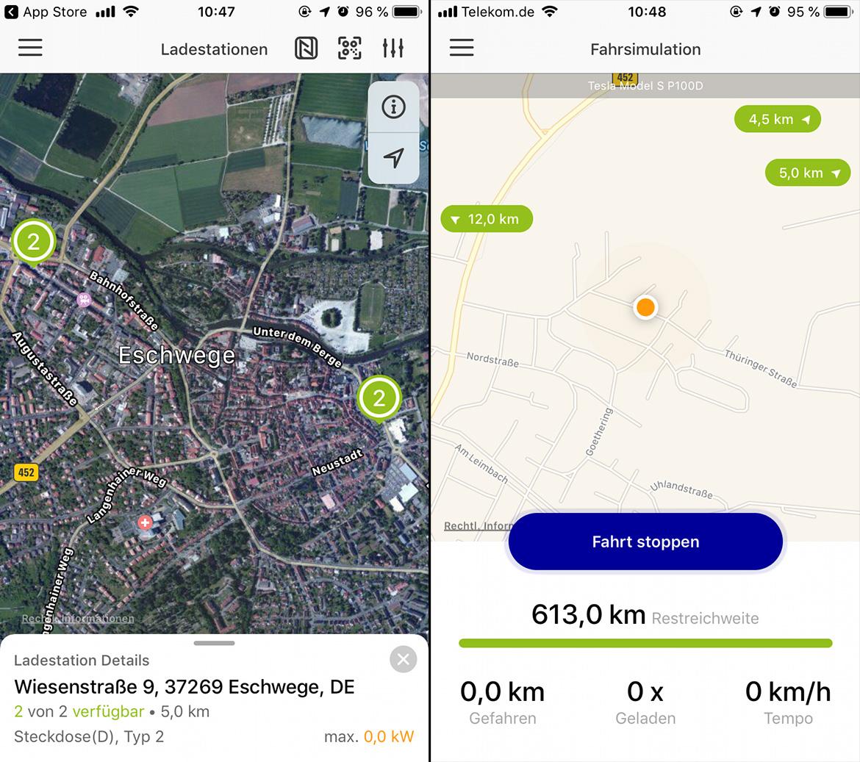 EnBW mobility+ App: Links Ladestationen in meiner Nähe, rechts der Screen beim Aufzeichnen einer Fahrt